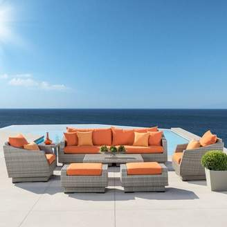 Wade Logan Castelli 8 Piece Rattan Sunbrella Sofa Seating Group with Cushions