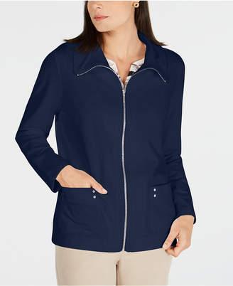 Karen Scott Petite Zip-Front Jacket