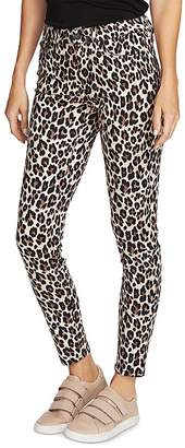 Vince Camuto Leopard-Print Skinny Jeans in Rich Black