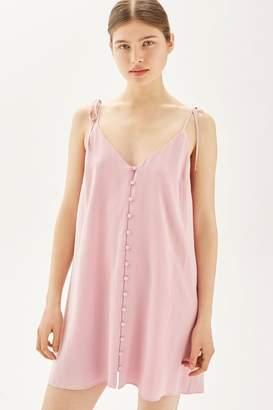 Topshop Button through mini slip dress