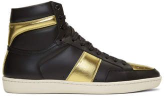 Saint Laurent Black and Gold SL/10 High-Top Sneakers