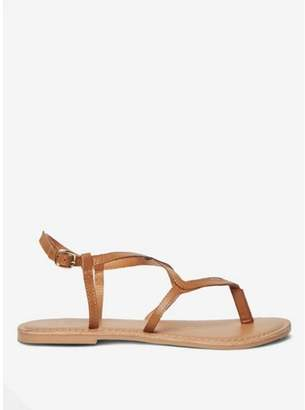Dorothy Perkins Womens Wide Fit Brown 'Fabia' Leather Sandals