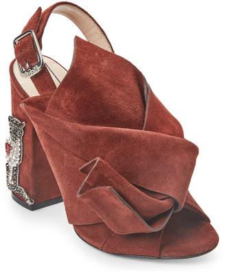 No.21 No. 21 Muscat Brown Embellished Block Heel Slingback Sandals