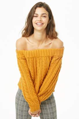 Forever 21 Off-the-Shoulder Cable Knit Sweater