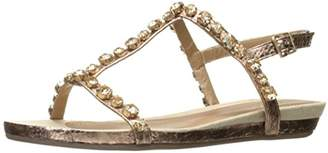 Kenneth Cole Reaction Women's Lost Catch Flat Gladiator Open Toe Sandal with Gemstone Accents-Metallic