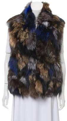Vince Fox Fur Mock Neck Vest