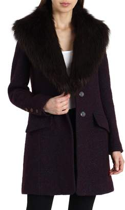 Badgley Mischka Belle 'Holly' Faux Fur Collar Boucle Coat