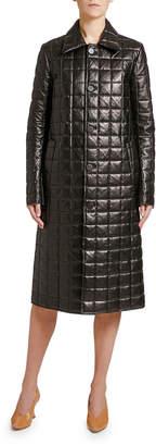 Bottega Veneta Quilted Napa Leather Button-Front Coat
