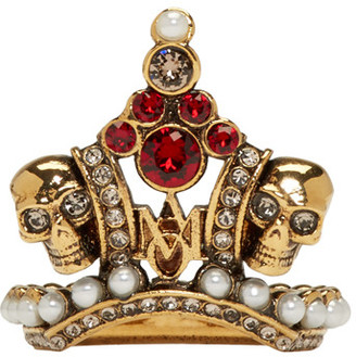 Alexander McQueen Gold Crown Skull Ring $475 thestylecure.com
