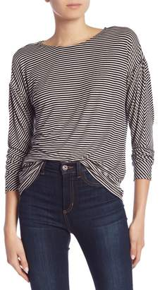 Bobeau Mitered Long Sleeve Stripe Tee