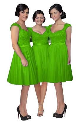 Fanciest Women' Cap Sleeve Lace Bridesmaid Dresses Short Wedding Party Gowns US