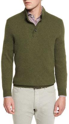 Ermenegildo Zegna Yak Mock-Neck Button Sweater, Green $272 thestylecure.com