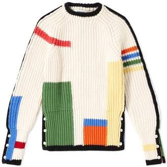 Thom Browne 4 Bar Stripe Rib Merino Crew Knit