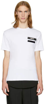 Neil Barrett White and Black Gang Badge T-Shirt