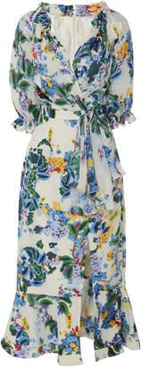 Saloni Olivia Printed Silk Midi Dress With Split