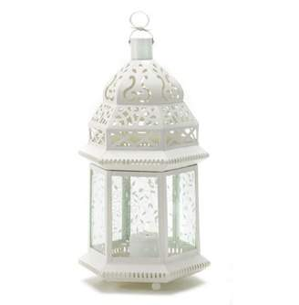 Gallery Of Light LARGE WHITE MOROCCAN LANTERN
