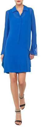 Akris Carwash Long-Sleeve Silk Georgette Shirtdress