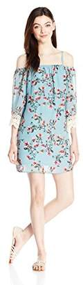 Amy Byer A. Byer Junior's Off The Shoulder Printed Shift Dress with Lace