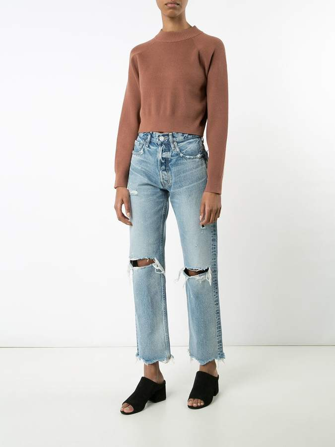 Moussy distressed high-rise jeans