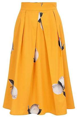 HUGO BOSS Lemon-print A-line skirt in stretch cotton poplin