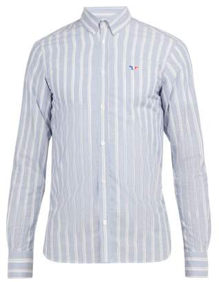 MAISON KITSUNÉ Logo Applique Striped Cotton Shirt - Mens - Blue