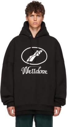 we11done Black Sherpa-Lined Big Logo Hoodie