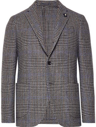 Lardini Grey Unstructured Checked Wool Blazer