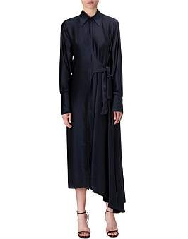Bianca Spender Navy Satin Sonnet Shirt Dress