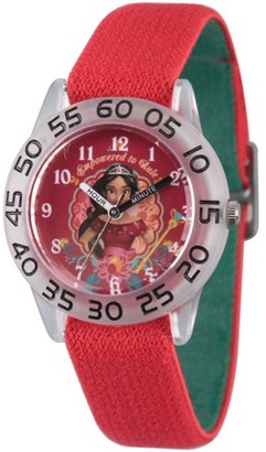 Disney Elena of Avalor Girls' Clear Plastic Time Teacher Watch, Reversible Red and Green Nylon Strap