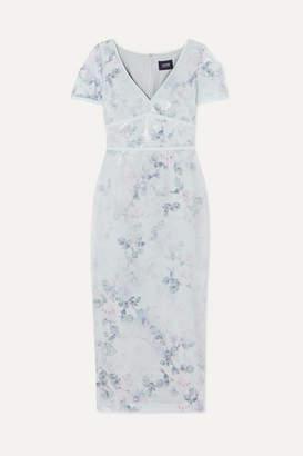 Marchesa Sequined Floral-print Crepe Midi Dress - Light blue