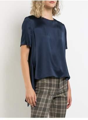 ADAM by Adam Lippes Silk Charmeuse Short Sleeve Cross Back T-Shirt