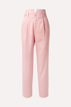Fleur Du Mal Silk And Wool-blend Piqué Straight-leg Pants - Baby pink