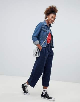 Pull&Bear Blue Check High Waist Wide Leg Crop PANTS