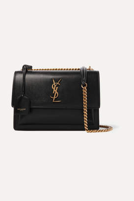 Saint Laurent Sunset Medium Textured-leather Shoulder Bag - Black