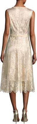 Neiman Marcus Kobi Halperin Sariyah Sleeveless Floral Lace Cocktail Dress, Gold