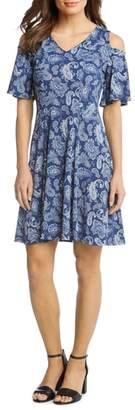 Karen Kane Cold Shoulder Paisley Dress
