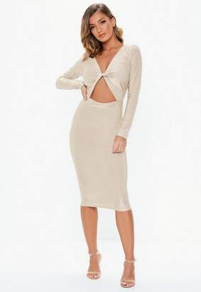 Missguided Stone Slinky Twist Front Midi Dress