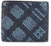 Bottega Veneta Men's Dots Woven Leather Bifold Wallet - Grey Blue