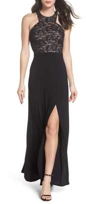 Morgan & Co. Lace Bodice Strappy Gown