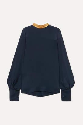 Roksanda Satin-trimmed Silk Blouse - Navy