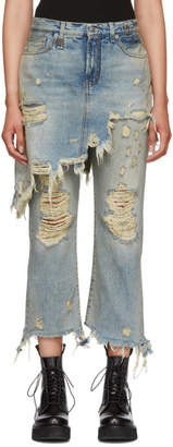 R 13 Blue Double Classic Shredded Hem Jeans