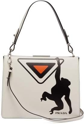 Prada Monkey Print Leather Bag - Womens - White Black