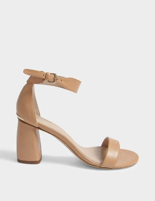 Stuart Weitzman Partlynude Sandals with Mid-Height Heel in Nude Nappa Leather