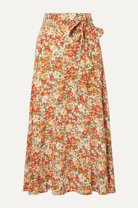 Faithfull The Brand Asiya Wrap-effect Floral-print Crepe Midi Skirt - Peach