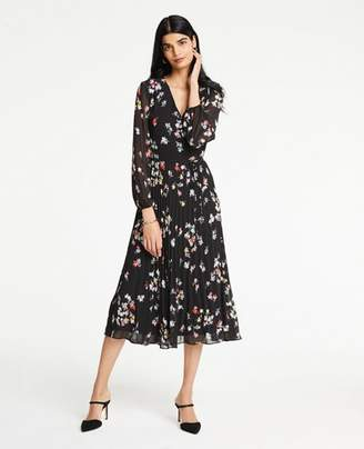 Ann Taylor Meadow Floral Pleated Wrap Dress