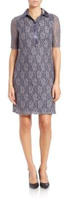 Andrew Marc Collared Lace Overlay Dress
