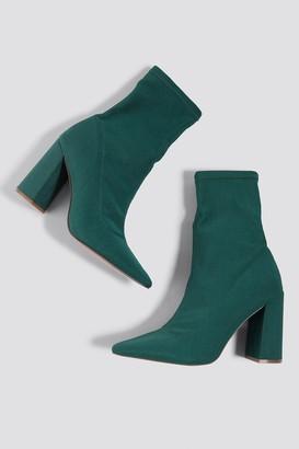 Na Kd Shoes Slanted Heel Sock Boots Dark Green
