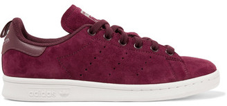 adidas Originals - Stan Smith Leather-trimmed Suede Sneakers - Burgundy $85 thestylecure.com