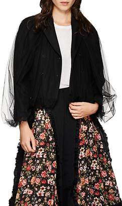 Noir Kei Ninomiya Women's Tulle-Overlay Crop Double-Breasted Blazer