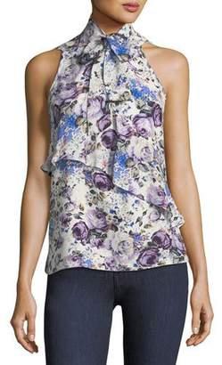 Parker Tribeca Tie-Neck Sleeveless Floral-Print Silk Top